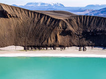 Volcanic landscape in Iceland. Volcanic landscape with a crater, snow and blue water in Iceland Stock Photo