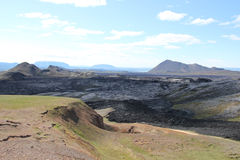Volcanic landscape in Iceland. Krafla volcanic landscape with lava fields Royalty Free Stock Photos