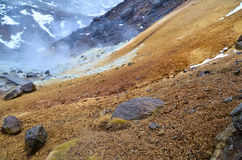 Volcanic landscape in Iceland. Krisuvik geothermal area in the south-west of Reykjanes Peninsula Stock Images