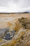 Volcanic landscape in Iceland, Myvatn. Hverarond boiling mud pots Stock Photos
