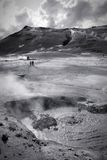 Volcanic landscape Iceland. Volcanic landscape in Iceland - Namafjall, Hverir. Boiling mud and sulphuric formations. Black and white tone - retro monochrome Royalty Free Stock Photos