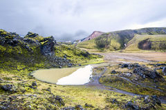 Volcanic landscape in Iceland. Wide angle view Stock Images