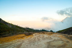 Volcanic landscape of Kawah ijen in morning dawn, Indonesia Stock Image