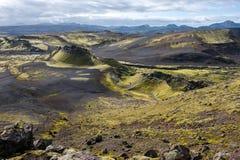 Volcanic landscape in Lakagigar, Laki craters, Iceland Royalty Free Stock Photo