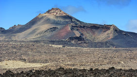 Volcanic landscape at  Lanzarote Island, Canary Islands, Spain Royalty Free Stock Images