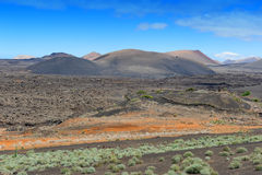 Volcanic landscape at  Lanzarote Island, Canary Islands, Spain Stock Photography