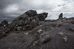Volcanic landscape on lava and volcano dust fields Stock Image