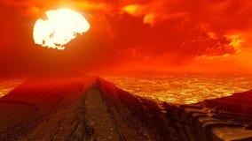 Volcanic landscape panorama Stock Photos