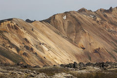 Volcanic landscape with rhyolite formations in Iceland Stock Photos