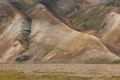 Volcanic landscape with rhyolite formations. Iceland. South area Stock Photos