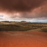 Volcanic landscape and the sea Royalty Free Stock Photos