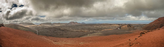 Volcanic landscape and the sea, panoramic Stock Photo