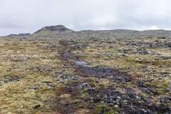Volcanic landscape with a small volcano at the back. Volcanic landscape with a small volcano at the back, Iceland Royalty Free Stock Photography