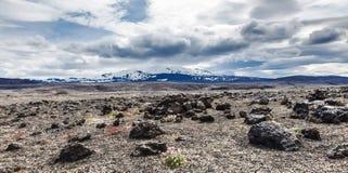 Volcanic landscape - stone and ash wasteland Stock Images