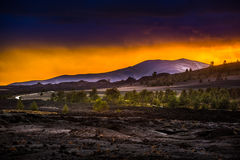 Volcanic Landscape after Sunset Craters of the Moon Stock Photography