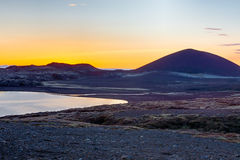 Volcanic landscape at sunset. A volcanic landscape in Iceland at sunset Stock Photo