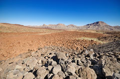 Volcanic landscape in Teide park, Tenerife, Canary Island, Spain. Stock Photo