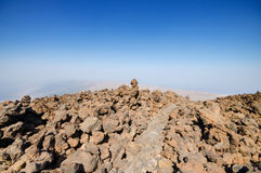 Volcanic landscape in Teide park, Tenerife, Canary Island, Spain. Royalty Free Stock Photography