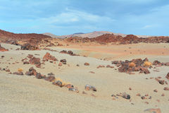 Volcanic landscape on Teide, Tenerife, Canary Islands, Spain Royalty Free Stock Images