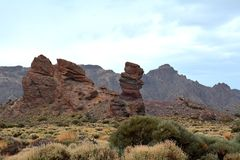 Volcanic landscape on Teide, Tenerife, Canary Islands, Spain royalty free stock photography