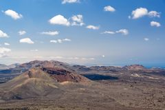 Volcanic landscape of Timanfaya National Park in Lanzarote, Canary Islands Spain. Volcanic landscape of Timanfaya National Park in Lanzarote, Canary Islands Royalty Free Stock Photos