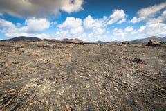 Volcanic landscape at Timanfaya National Park, Lanzarote Island, Royalty Free Stock Images