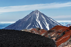 Volcanic landscape: view on active Koryaksky Volcano in Kamchatka Stock Photography
