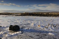 Volcanic landscape in winter Royalty Free Stock Images