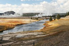 volcanic landscape in Yellowstone NP Royalty Free Stock Photography
