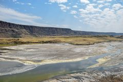 Volcanic landscapes at Lake Magadi, Kenya. The volcanic landscapes at Lake Magadi, Rift Valley, Kenya stock photos