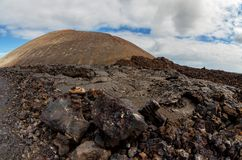 Volcanic landscapes on Timanfaya. Lanzarote. Canary Islands. Spa stock photography