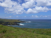 Volcanic Lava Coastline of Rapa Nui. Easter Island, Polynesia in the South Pacific stock image