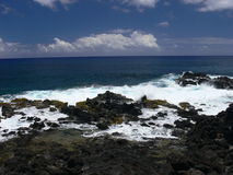 Volcanic Lava Coastline of Rapa Nui. Easter Island, Polynesia in the South Pacific royalty free stock photography