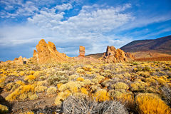 Volcanic lava landscape on Teide, Tenerife,  Spain. Stock Photos