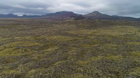 Volcanic Lava Rock Formations. Icelandic Landscape. Aerial View stock video footage