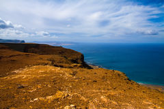 Volcanic lava view and ocean, Lanzarote , Canary Royalty Free Stock Photos