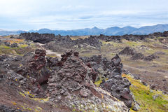 Volcanic lava. Weathering of volcanic lava at the foot of the Gorely volcano, Far east, Russia, Kamchatka Royalty Free Stock Photos