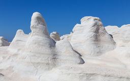 The volcanic moonscape of Sarakiniko, Milos island, Cyclades, Greece Royalty Free Stock Photos