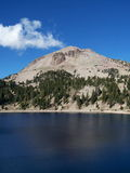Volcanic Mountain. Dormant volcano, Lassen Peak with Lake Helen at Lassen Volcanic National Park Stock Photo