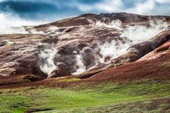 Volcanic mountain emitted sulfur and steam, Iceland Royalty Free Stock Photography