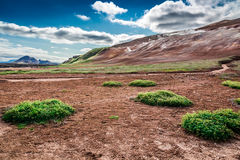 Volcanic mountain full of sulfur and steam, Iceland Royalty Free Stock Image