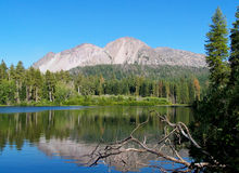 Volcanic Mountain and Lake. Manzanita Lake, Chaos Crags, Lassen Volcanic National Park Stock Photo