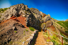 Volcanic mountain landscape with hiking path Stock Photography