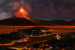 Volcanic Mountain. Red hot lava runs through the landscape as a volcanic mountain explodes with fire Stock Image