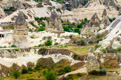 Volcanic mountains in Goreme national park. Cappadocia. View of the cave houses of Cappadocia and Goreme National Park. Turkey Royalty Free Stock Photo