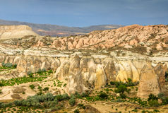 Volcanic mountains in Goreme national park. Cappadocia. View of the cave houses of Cappadocia and Goreme National Park. Turkey Royalty Free Stock Photography