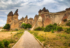 Volcanic mountains in Goreme national park. Cappadocia. View of the cave houses of Cappadocia and Goreme National Park. Turkey Royalty Free Stock Photos