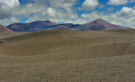 Volcanic mountains at Lanzarote Island, Canary Islands, Spain Stock Photography
