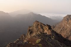 Hazy sunrise over rocky landscape of La Palma Canary Islands stock photography