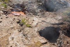 Volcanic mud pots Stock Photography
